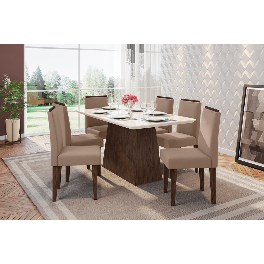 Conjunto Sala de Jantar Bárbara New Ceval 160cm 6 Cadeiras Ana Castanho