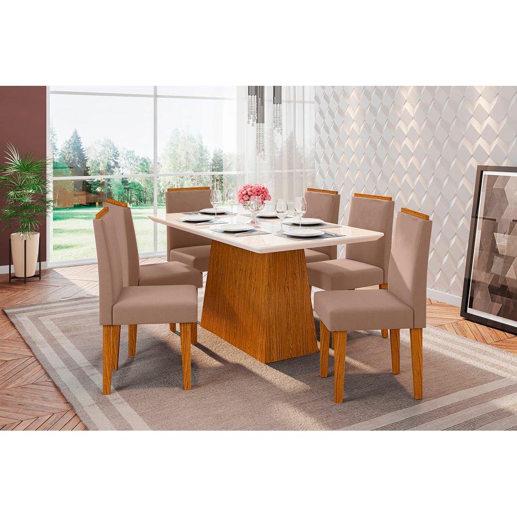 Conjunto Sala de Jantar Bárbara New Ceval 160cm 6 Cadeiras Ana Ypê