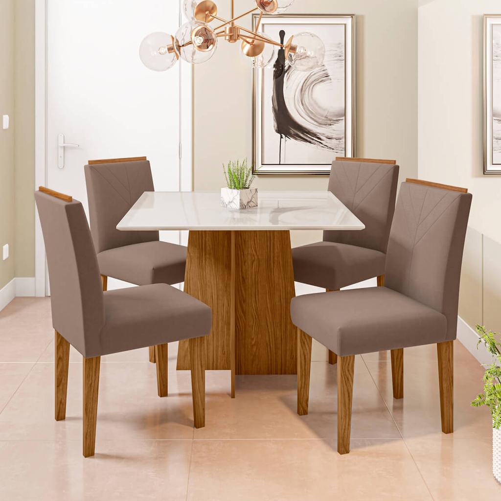 Conjunto Sala de Jantar Marina New Ceval 100cm com 4 Cadeiras Amanda Ypê