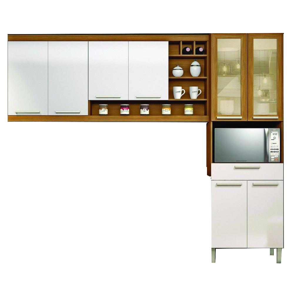 Cozinha Compacta 3 Peças Burguesa Nesher Móveis Freijó/Branco