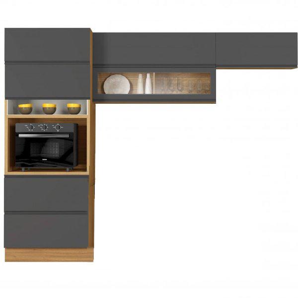 Cozinha Itatiaia Inova com 6 Portas e 1 Gaveta Freijó/Grafite
