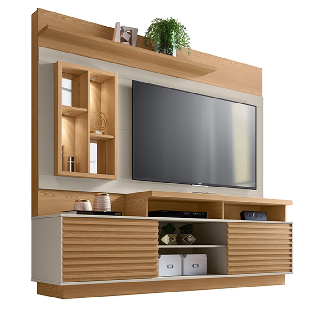 Estante Home Theater para TV até 65 Linea Brasil Eldorado Carvalho/Off White