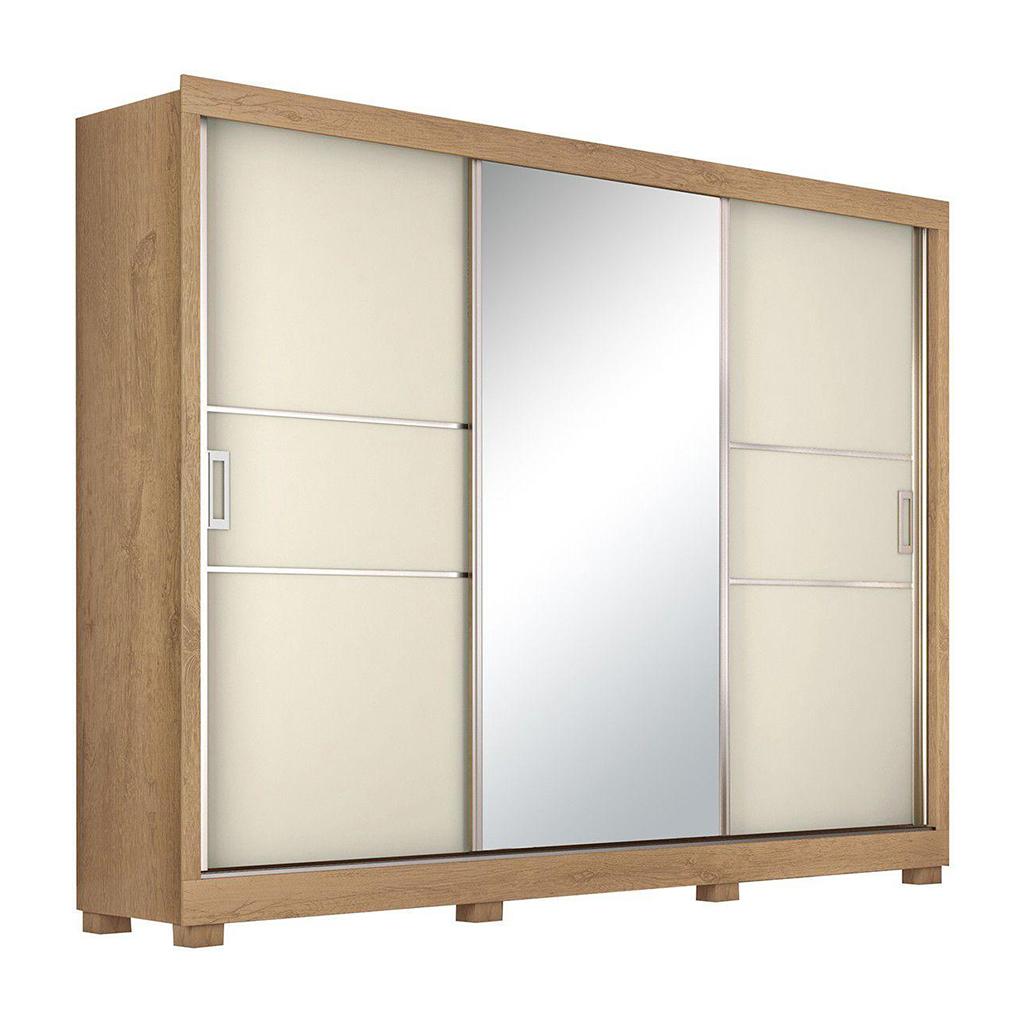 Guarda-roupa Casal Maranello Europa Made Marques com Espelho 3 Portas de Correr 3 Gavetas Amêndoa/Off White