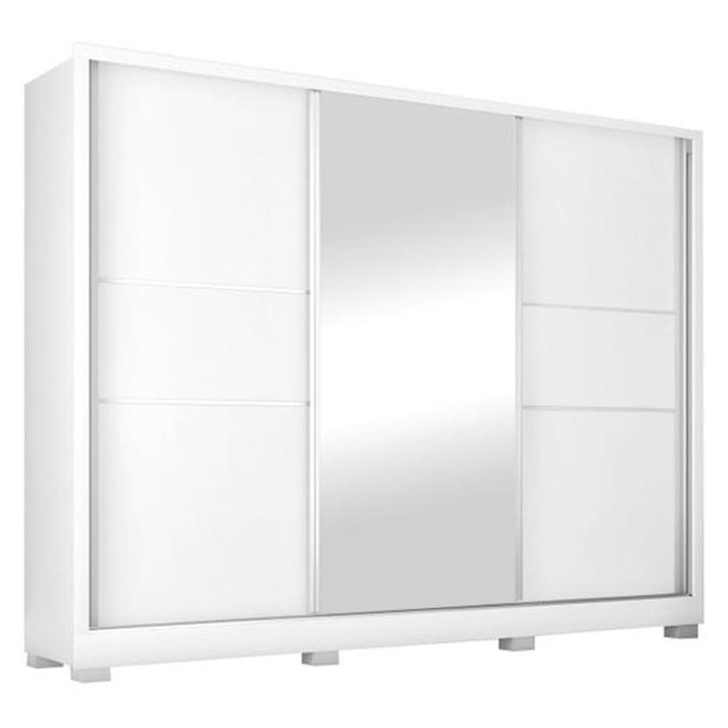 Guarda-roupa Casal Maranello Europa Made Marques com Espelho 3 Portas de Correr 3 Gavetas