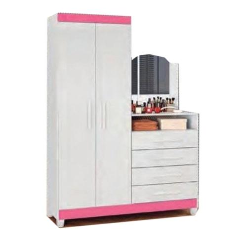 Guarda-Roupa com Cômoda Albatroz Capri 2 Portas e 4 Gavetas com Espelho Branco/Rosa