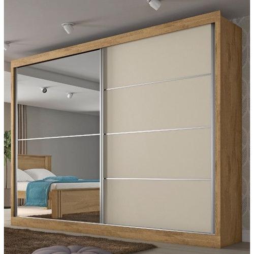 Guarda Roupa Mademarques Verona Plus 2 Portas Com 1 Espelho Amendoa