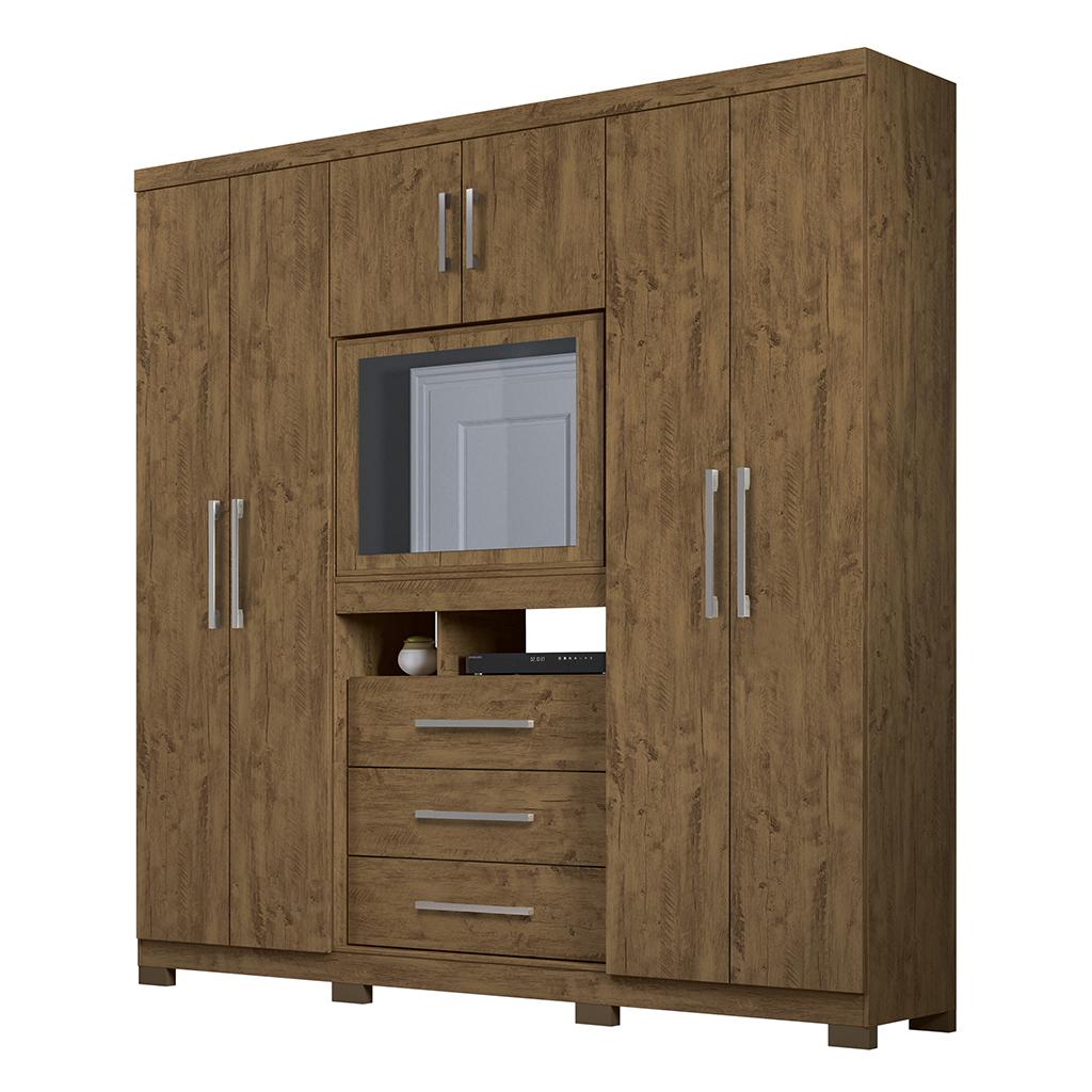 Guarda Roupa Moval Dubai Plus 942331 6 Portas 3 Gavetas Castanho Wood