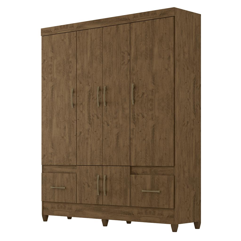 Guarda Roupa Moval MS 912 912331 06 Portas 2 Gavetas Castanho Wood