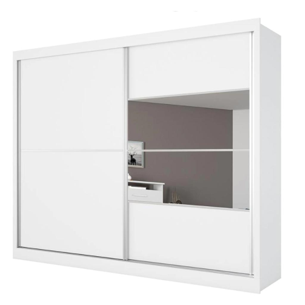 Guarda-Roupa Móveis Europa Londres Flex com Espelho, 2 Portas de Correr e 4 Gavetas Branco/Caramelo