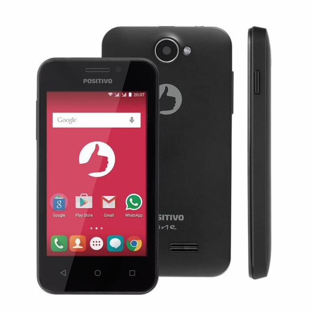 Smartphone Positivo S420 Preto com Dual Chip, Tela 4, Android 5.1, Câmera 3.2MP, 3G, Wi-Fi, Bluetooth e Processador Dual Core de 1.3Ghz