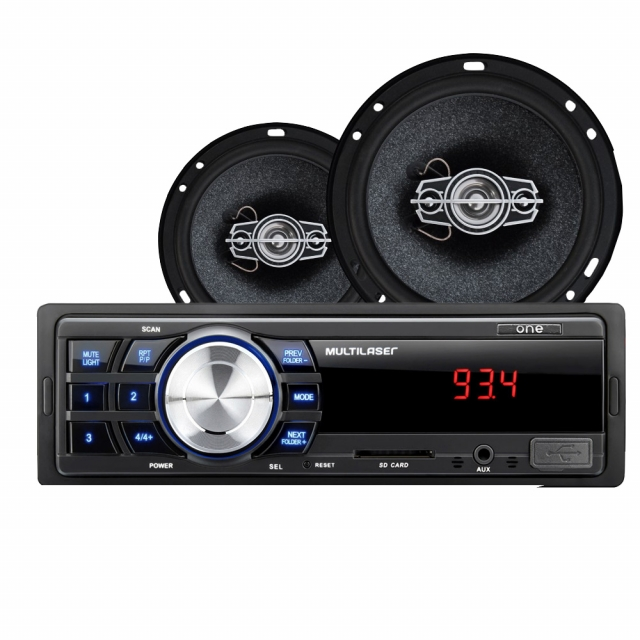 Kit Automotivo AU953 Multilaser Rádio MP3 Player One + 02 pares Alto Falantes 6 60W