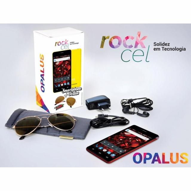 Celular Smartphone Rockcel Opalus Vermelho Tela 5 3G Câmera Frontal Dual Chip Android 5.1 + Óculos  Chilli Beans