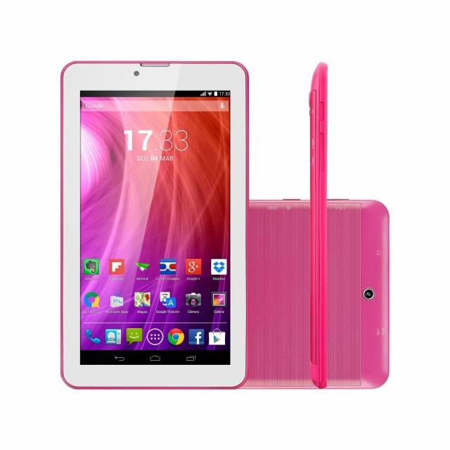Tablet M7I-3G Quad 8GB Tela 7, GPS, Rosa, Multilaser - NB246