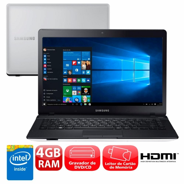 Notebook Samsung Essentials Intel Celeron 4GB 500GB Tela LED HD 14 Windows 10 - Prata