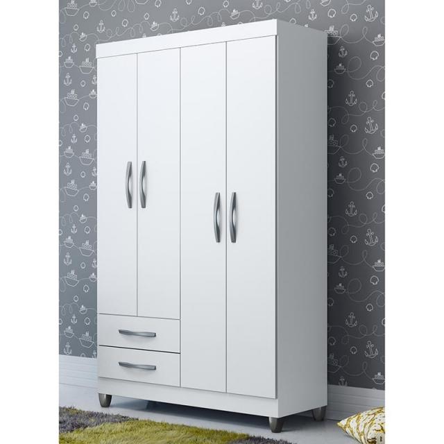 Guarda-Roupa Albatroz Âmbar com 4 Portas e 2 Gavetas com saneflas reversíveis nas cores branco/preto/rosa/azul