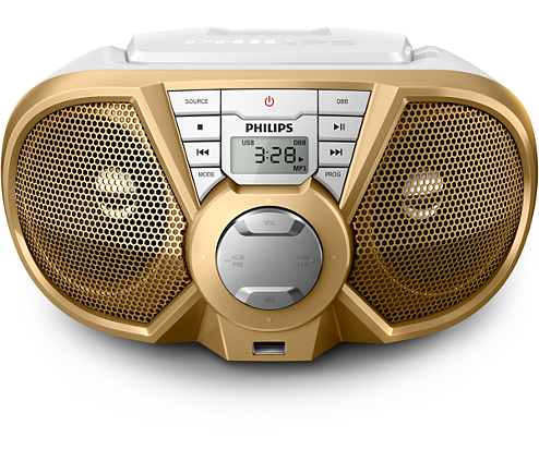 Rádio Boombox PX3125GX78 CD, 1 USB, Rádio FM, Branco e Dourado, 5W RMS Philips