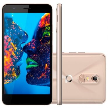 Smartphone Quantum MUV Mirage Gold - Dual Chip, 4G, Tela HD 5.5, Câmera 13MP + frontal 8MP, Quad Core 1.0Ghz, 16GB, 1GB RAM, Android 6.0