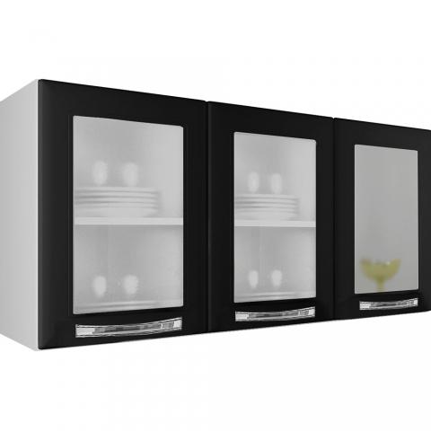 Armário de Parede Itatiaia Itanew IPV3-120 3 Portas com Vidro Branco/Preto