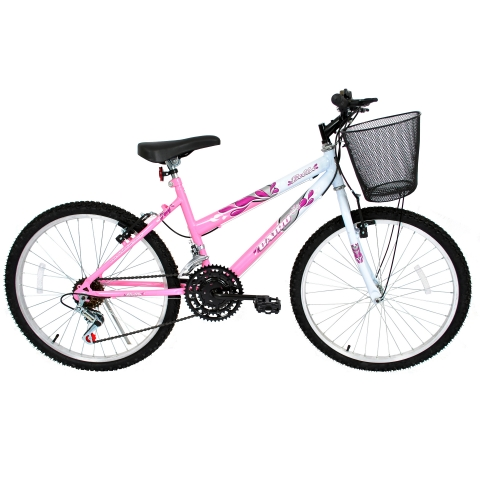 Bicicleta Aro 24 Cairu Bella MTB feminina com 21 Marchas Rosa