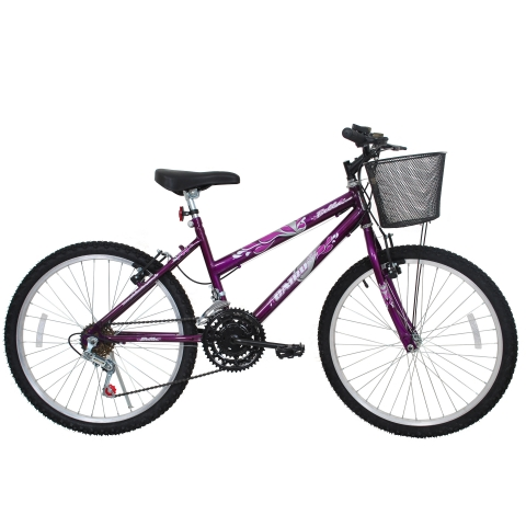 Bicicleta Aro 24 Cairu Bella MTB feminina com 21 Marchas Violeta