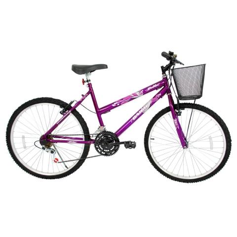 Bicicleta Aro 26 Cairu Bella MTB feminina com 18 Marchas Violeta