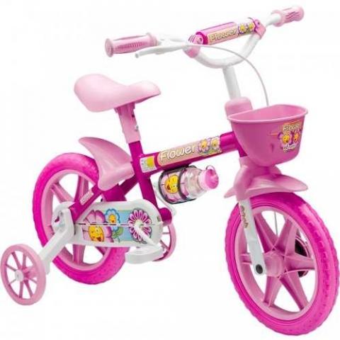 Bicicleta Cairu Aro 12 Feminina Flower Rosa