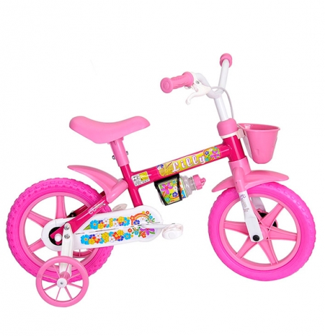 Bicicleta Infantil Cairu Flower Aro 12 Feminina Rosa