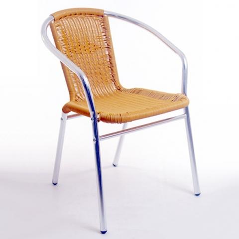 Cadeira tubular Alegro 102 em Alumínio Anodizado, com Fibras sintéticas Natural