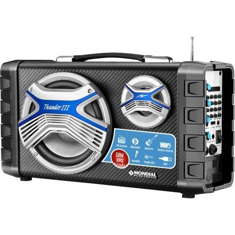 Caixa Amplificada Multi Connect Mondial Mco-03 Preto 50w 220V