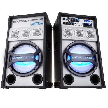 Caixa Amplificada NKS PK3000 Bluetooth com 300W RMS e Alto-Falante de 10 Polegadas, Entrada USB, Rádio FM, Display LED Microfone com Fio