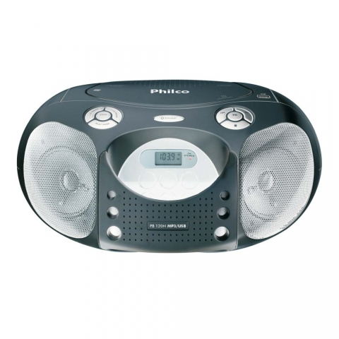 CD Player Portátil Philco PB120N c/ MP3 e USB - Prata.