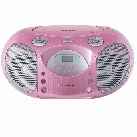 CD Player Portátil Philco PB120R c/ MP3 e USB - Rosa
