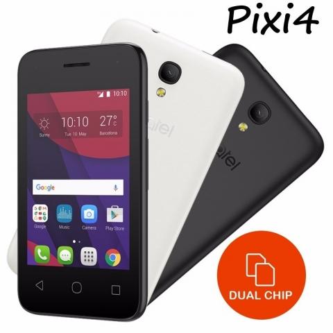 Celular Alcatel Pixi 4 4017F Preto/Branco, 3G, Dual Chip, 4GB, Tela 3.5, Câmera 5MP, Dual Core 1.0GHz, Android 5.1, Desbloqueado