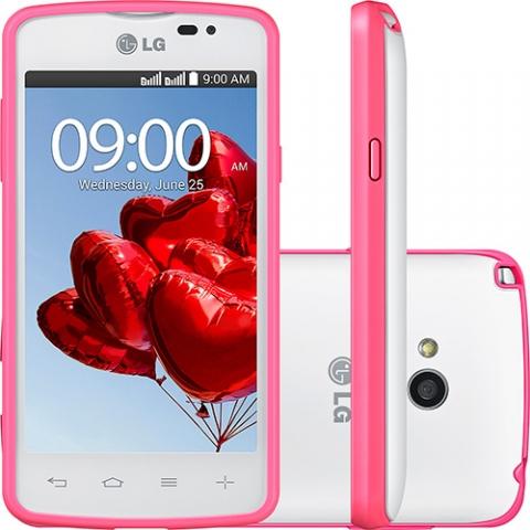 Celular Desb. LG L50 Dual TV Sporty Branco com Tela de 4, Dual Chip, TV Digital, Android 4.4, Câm.5MP, Processador Dual Core 1.3GHz e 2 Cases Coloridas Tim