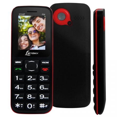 Celular Desbloqueado Lenoxx CX 905 Preto/Vermelho com Tela 1.8, Dual Chip, Câmera VGA, Bluetooth, MP3 e Rádio FM