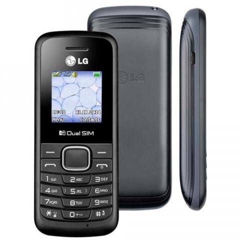Celular Desbloqueado LG B220 Preto com Dual Chip, Rádio FM, Display Colorido de 1.45 Pol. e Super Lanterna