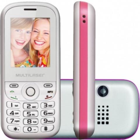 Celular Multilaser UP 2 Chip P3293 Desbloqueado Branco e Rosa ,  MP3 Player, Câmera VGA, Tela 1.8