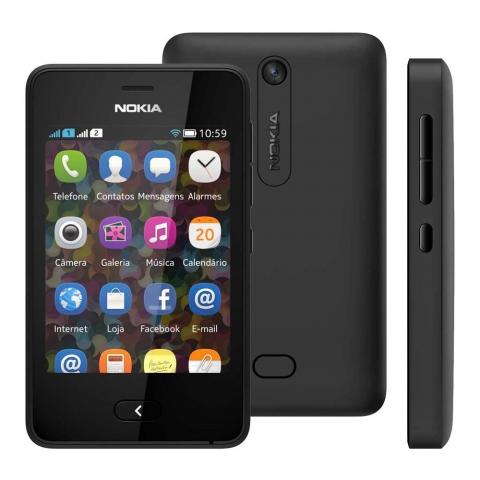 Celular Nokia Asha 501 TIM Desbloqueado Preto com Dual Chip, Câmera 3.2MP, Wi-Fi, Bluetooth, Rádio FM, MP3 e Cartão 4GB