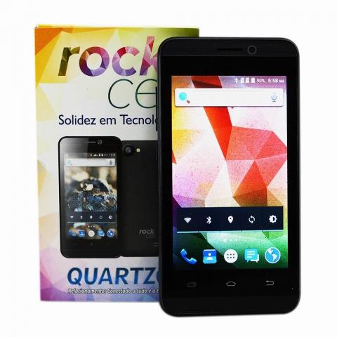 Celular Smartphone Rock Cel Quartzo Preto Android 5.1 4 Dual Chip com camera frontal e Camera 5MP