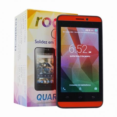 Celular Smartphone Rock Cel Quartzo Vermelho Android 5.1 4 Dual Chip com camera frontal e Camera 5MP