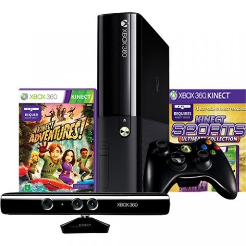 Console XBOX 360 500GB + Kinect Sensor + 2 Jogos + Controle sem Fio