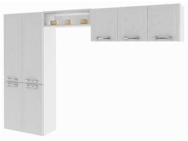 Cozinha Compacta Itatiaia Anita Smart Aço (1 Paneleiro+1 Nicho+1 Armário) Branco