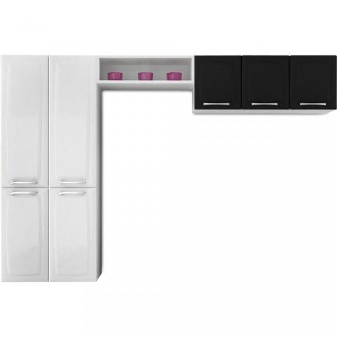 Cozinha Compacta Itatiaia Anita Smart Aço (1 Paneleiro+1 Nicho+1 Armário) Branco/Preto