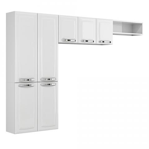 Cozinha Compacta Itatiaia Rose  7 Portas Aço Branca