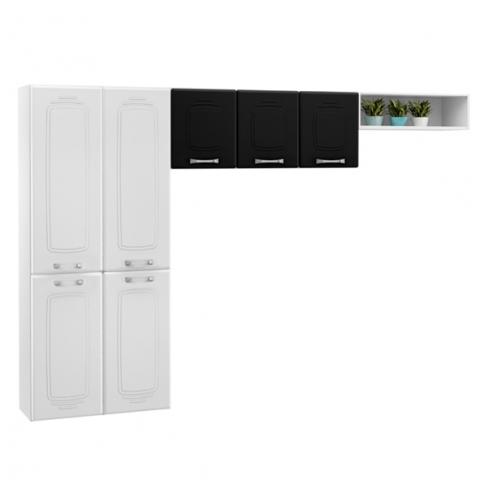 Cozinha Compacta Telasul Novitá 807409 com 7 Portas Branco/Preto