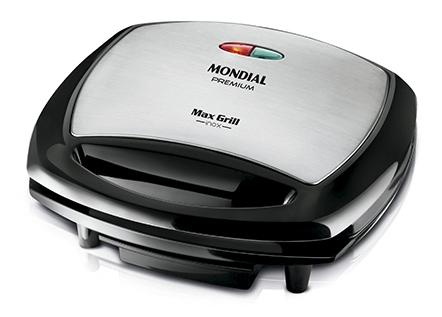 Grill Mondial G-07 Premium Max Grill com Espátula e Bandeja Coletora - Preto/Inox