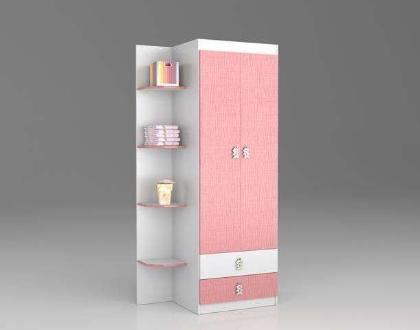 Guarda-roupa Arco-íris Rodial Branco/ Rosa