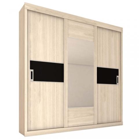 Guarda-Roupa Mademarques Teriva com 3 Portas e Espelho Palha/Preto Nature/Palha