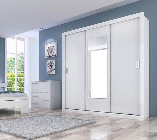 Guarda Roupa Panan  Uni Slide 3 Portas Branco