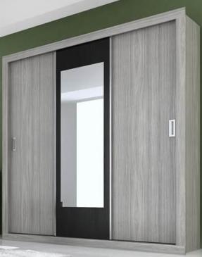 Guarda Roupa Panan  Uni Slide 3 Portas Gris/Black